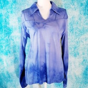 VTG Tie Dye Blue Long Sleeve Collared Tunic